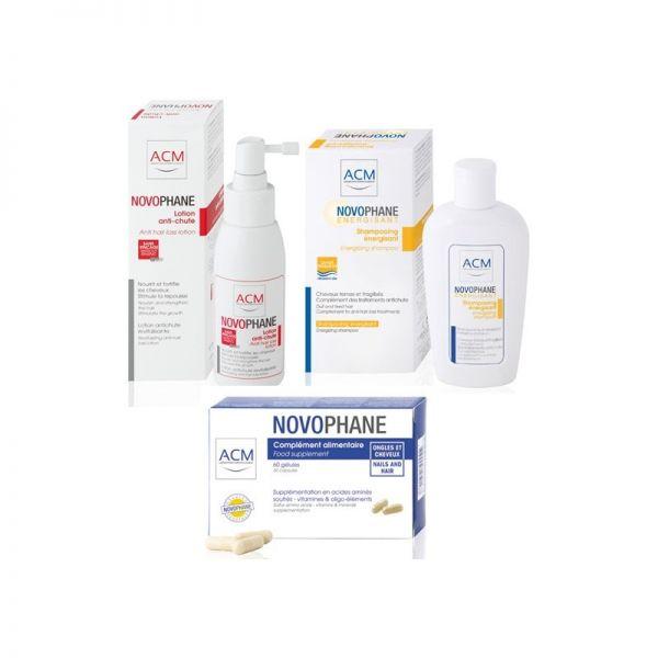 ACM Pachet Novophane Lotiune anticadere 100 ml + Sampon energizant 200 ml + Unghii si par capsule 60 cp