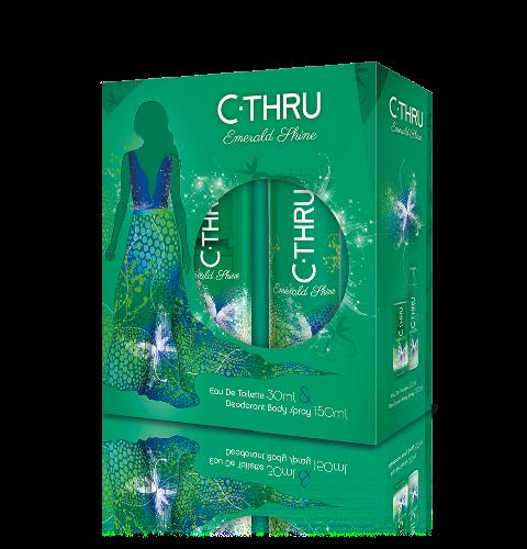 C-THRU Emerald Shine Apa de Toaleta  30 ml +  Deo spray 150 ml Cadou