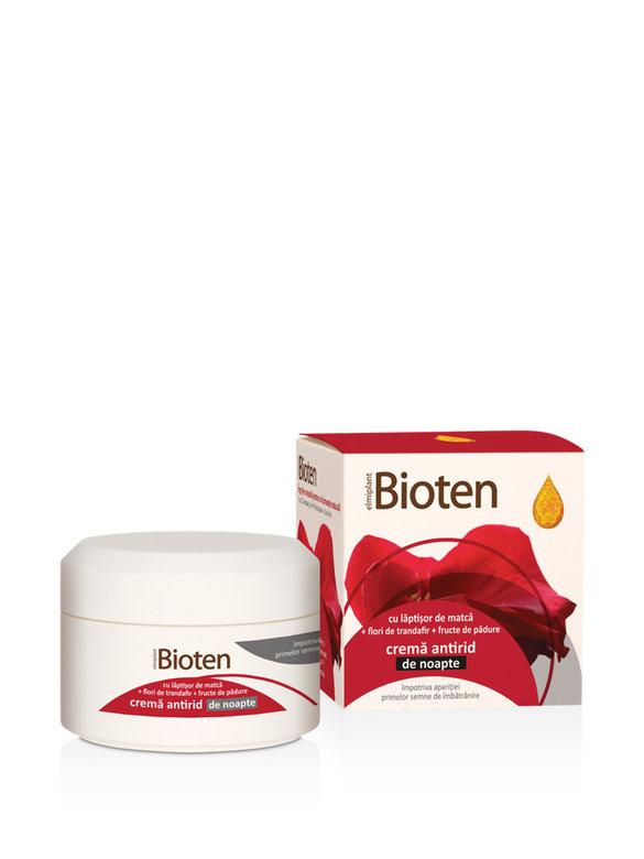 Bioten Crema antirid de noapte cu laptisor de matca + flori de trandafir + fructe de padure 50 ml