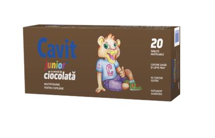 Biofarm Cavit Junior ciocolata 20 tablete masticabile