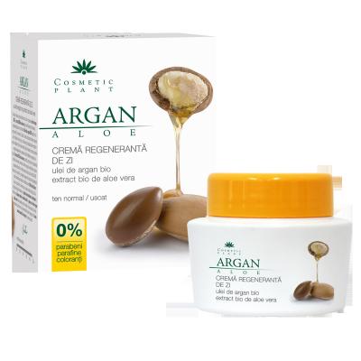 Cosmetic Plant Crema regeneranta de zi cu ulei de argan bio si extract bio de aloe vera ten normal/uscat 50 ml
