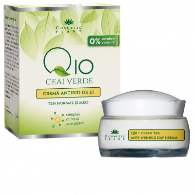 Cosmetic Plant Crema antirid de zi Q10 cu ceai verde si complex mineral energizant ten normal/mixt 50 ml