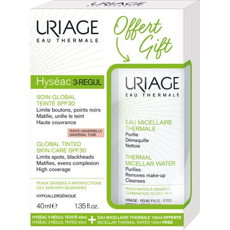 Uriage Pachet Hyseac 3-Regul Crema coloranta SPF 30 40 ml + Apa micelara termala ten mixt gras 100 ml