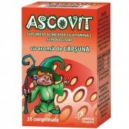 Ascovit cu aroma de capsuna 100 mg 20 comprimate
