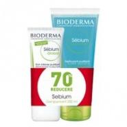 Bioderma Pachet Sebium sensitive crema hidratare 30 ml + Sebium gel spumant 200 ml Cadou