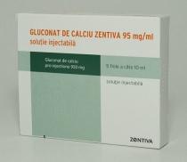 GLUCONAT DE CALCIU ZENTIVA 95 mg/ml x 5 SOL. INJ. 95mg/ml ZENTIVA SA