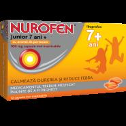 Nurofen Junior 7+ ani cu aroma de portocale 100 mg 12 capsule moi