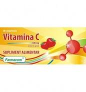 Vitamina C cu aroma de capsuni 100 mg 30 comprimate